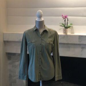 Trafaluc for Zara Olive Embroidered Shirt EUC!